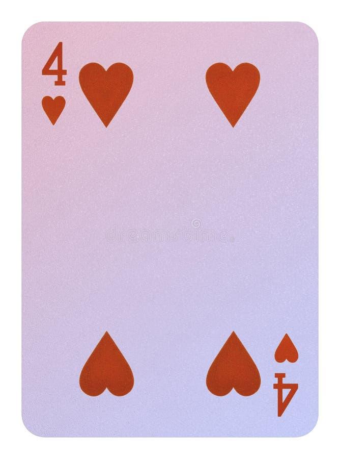 Speelkaarten, Vier van harten royalty-vrije stock foto