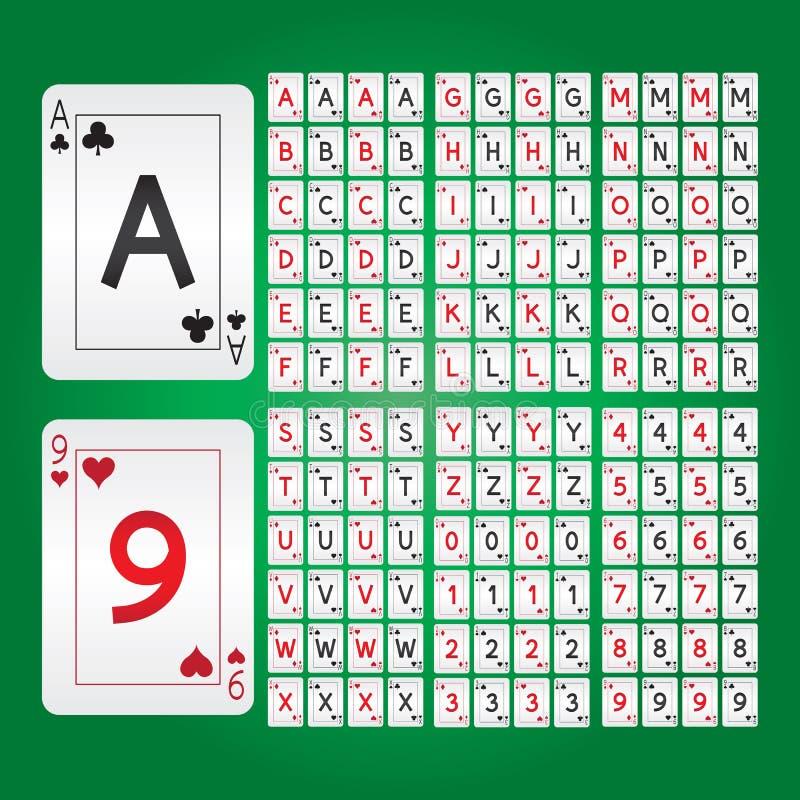 Speelkaartenalfabet en Cijfervector royalty-vrije illustratie