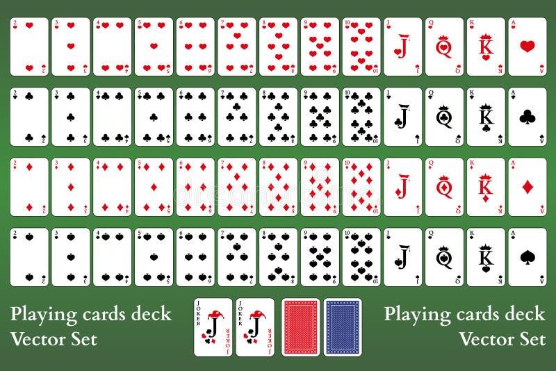 Speelkaartendek op groene achtergrond Volledige reeks Pookkaarten vector illustratie