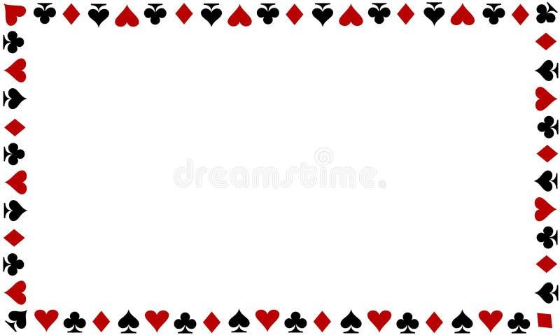 Speelkaartengrens op witte achtergrond stock foto's