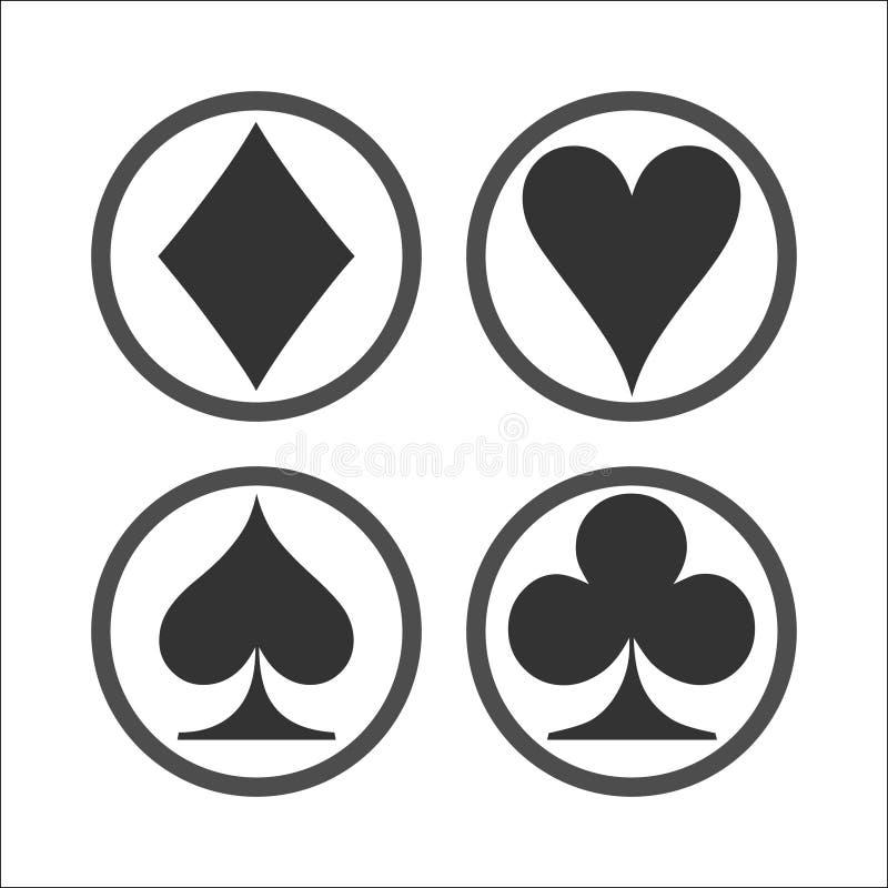 Speelkaartensymbolen op witte achtergrond royalty-vrije illustratie