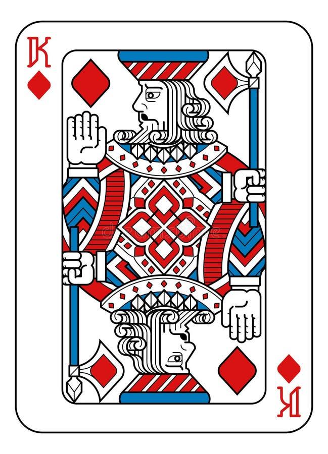 Speelkaartkoning van Diamanten Rode Blauw en Zwart royalty-vrije illustratie