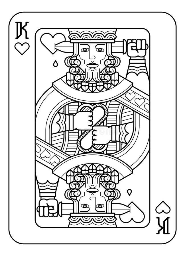 Speelkaartkoning van Zwart-witte Harten stock illustratie
