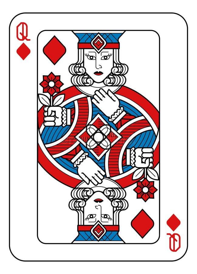 Speelkaartkoningin van Diamanten Rode Blauw en Zwart vector illustratie