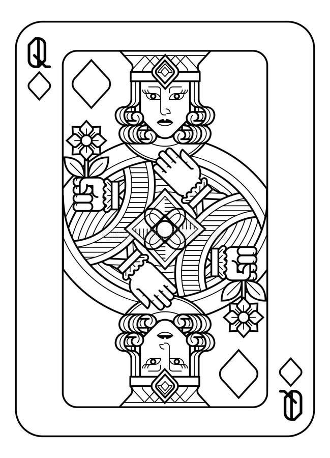 Speelkaartkoningin van Zwart-witte Diamanten royalty-vrije illustratie