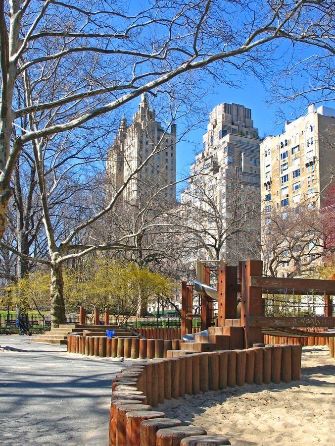 Speelplaats in Central Park, NYC stock foto's