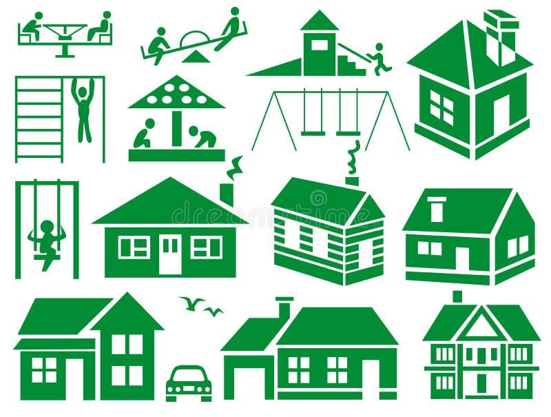 Speelplaats en huis stock illustratie