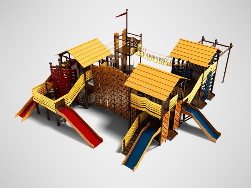 Speelplaats van het spel geeft de houten strand voor kinderenmening van 3d op grijze achtergrond met schaduw terug royalty-vrije illustratie