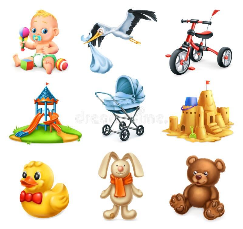 Speelplaats 2 van kinderen Jonge geitjes en speelgoed Vector geplaatste pictogrammen vector illustratie