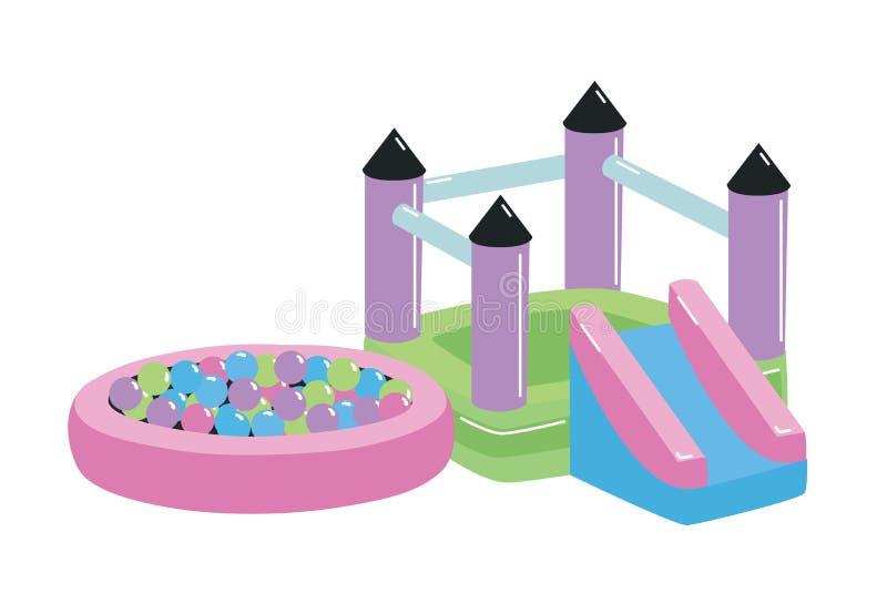 Speelplaats of speelplaats voor kinderen met theater, dia en balkuil op witte achtergrond wordt geïsoleerd die Openlucht apparatu stock illustratie