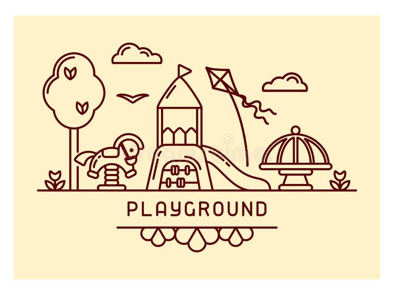 Speelplaatsconcept met dia, geschommel en carrousel royalty-vrije illustratie
