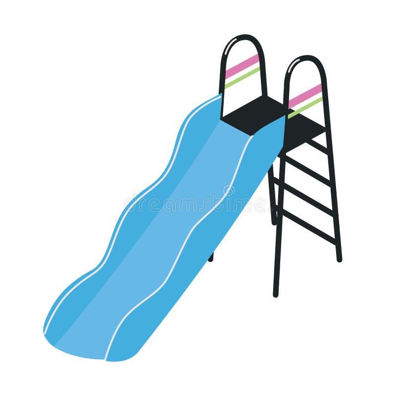 Speelplaatsdia met ladder op witte achtergrond wordt geïsoleerd die Openluchtapparaat of hulpmiddel voor de activiteit van het ki vector illustratie