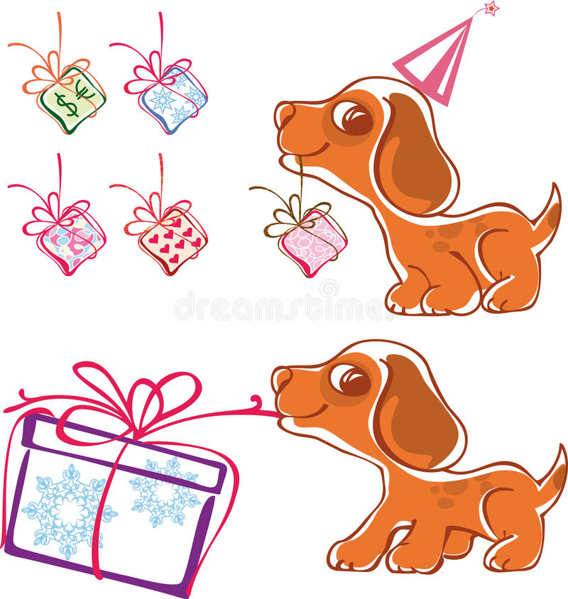 Speels puppy met giften vector illustratie