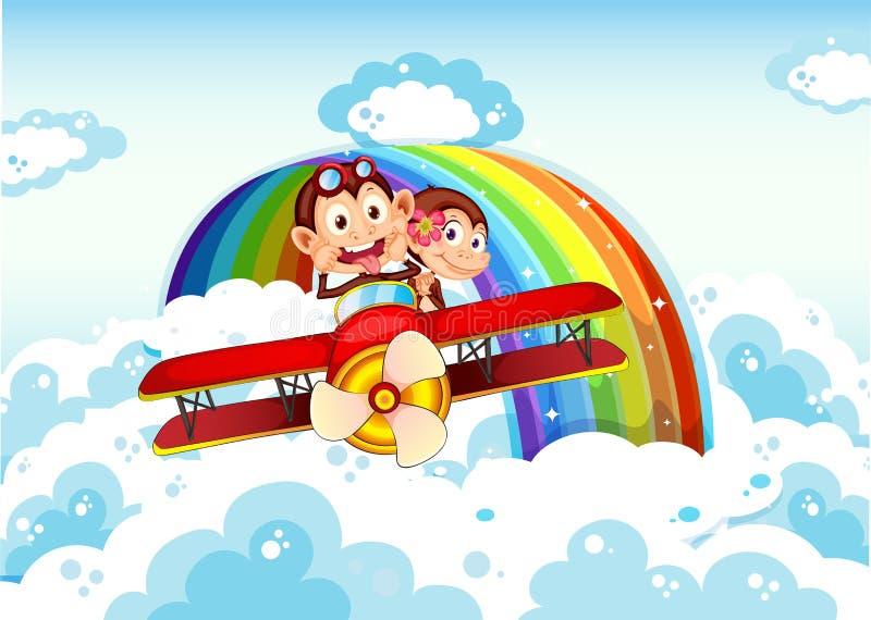 Speelse apen die op een vliegtuig dichtbij de regenboog berijden vector illustratie