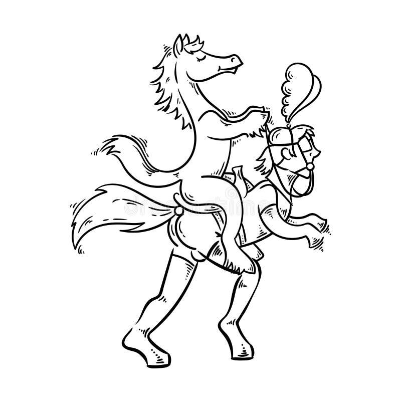Speelse illustratie in bdsmstijl Mens in het kostuum van de latexponey met paard in een zadel vector illustratie