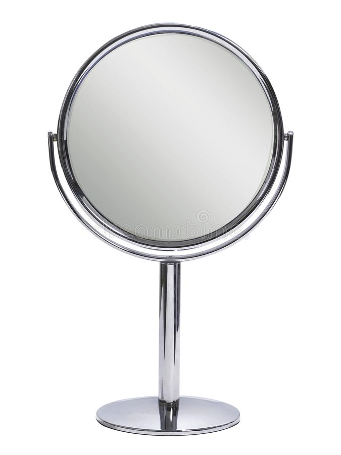 Spegel för rund tabell på en vit bakgrund arkivbilder