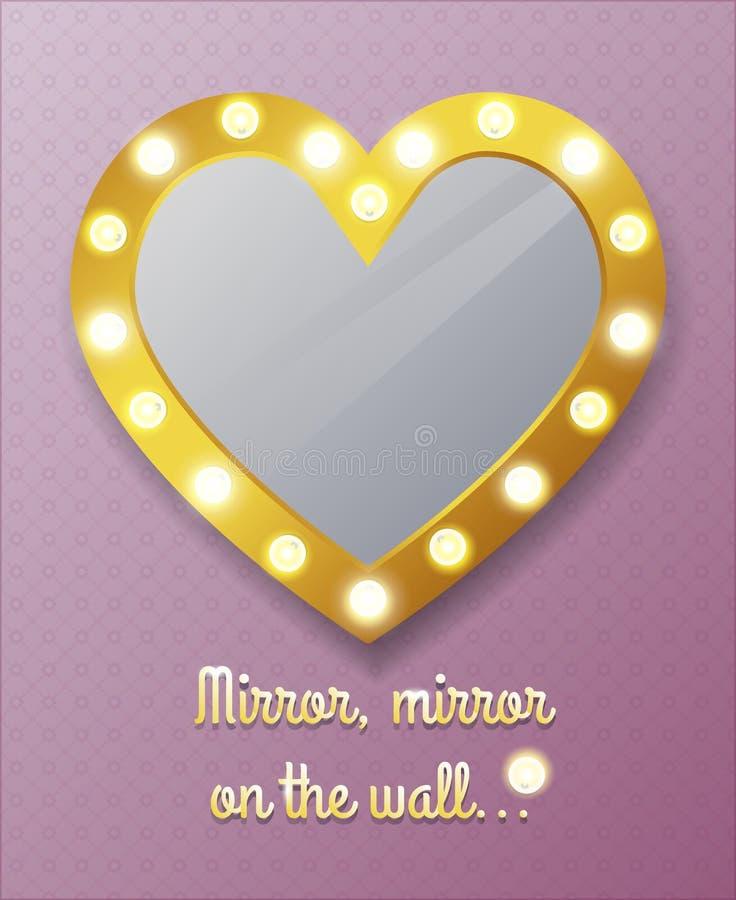 Spegel i form av hjärta på väggen stock illustrationer