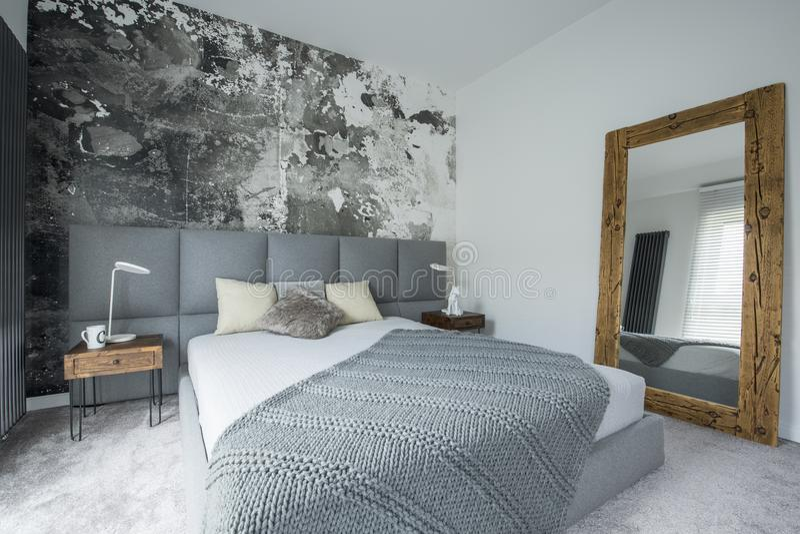 Spegel i modern sovruminre arkivbilder