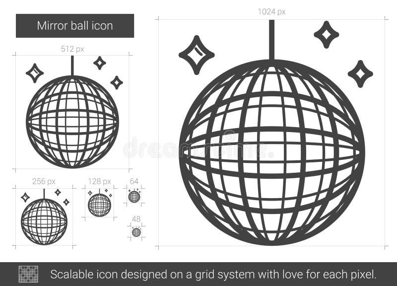 Spegelbolllinje symbol vektor illustrationer