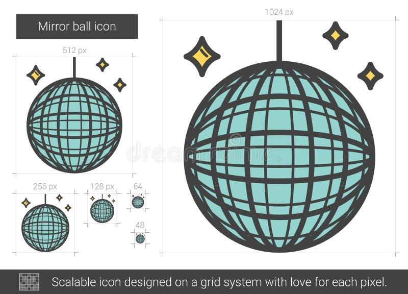 Spegelbolllinje symbol stock illustrationer