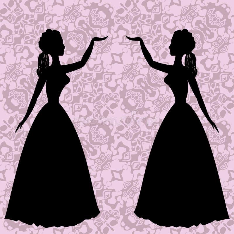 Spegelkonturer som dansar kvinnor på dekorativ bakgrund i rokokor, utformar royaltyfri illustrationer