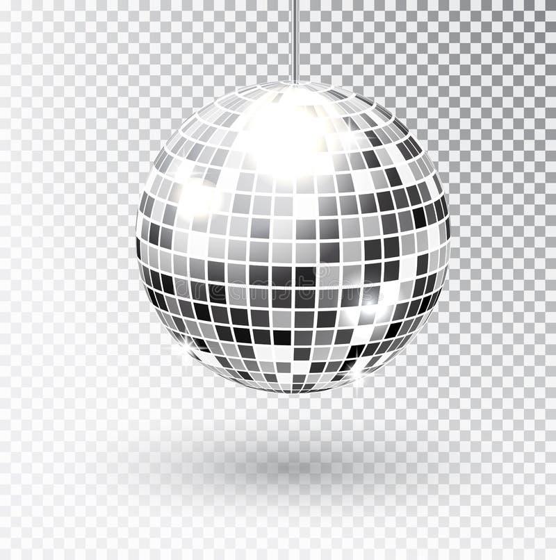 Spegeln blänker illustrationen för diskobollvektorn Beståndsdel för nattklubbpartiljus Ljus design för spegelsilverboll för vektor illustrationer