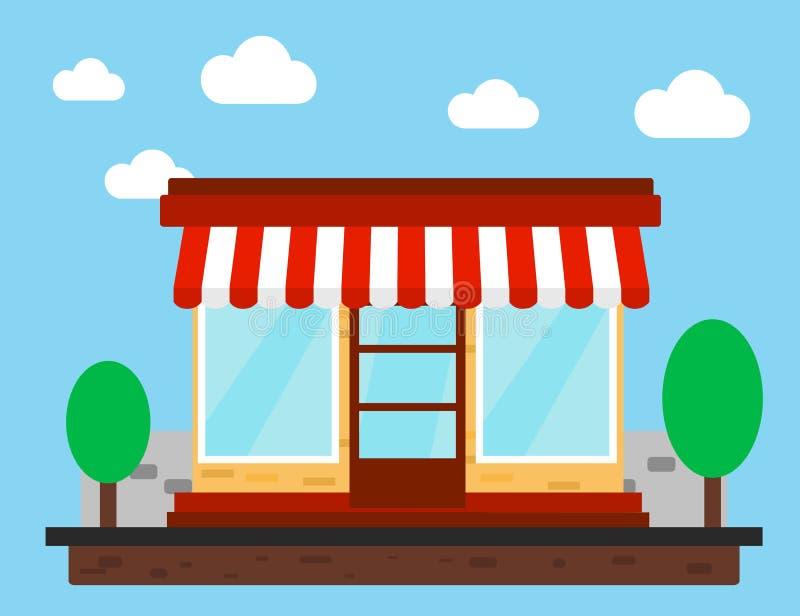 Speicher, Shop oder Markt Front View Flat Design stock abbildung