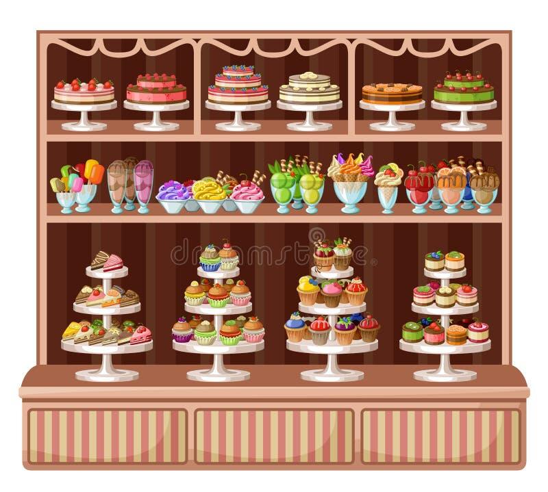Speicher von Bonbons und von Bäckerei vektor abbildung