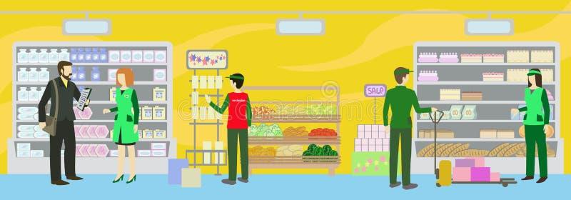 speichern Sie das Personal, das auf dem Einkaufsraum arbeitet lizenzfreie abbildung