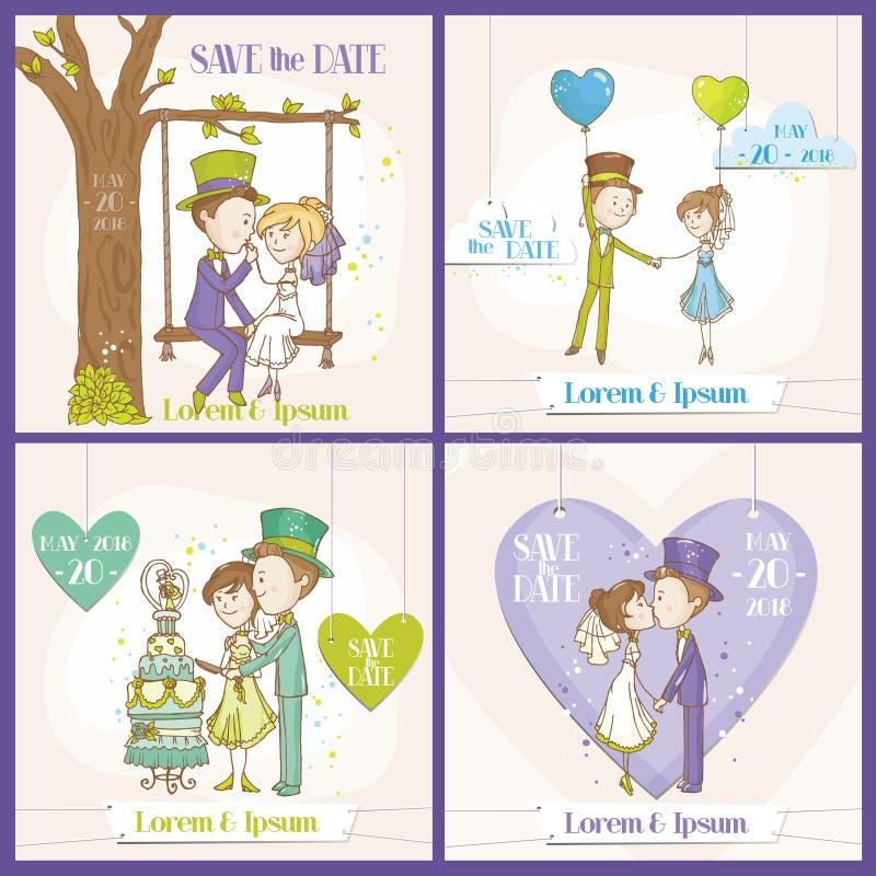 Speichern Sie den Datums-Hochzeits-Karten-Satz lizenzfreie abbildung