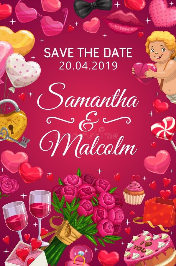 Speichern Sie den Datumshochzeitsfest-Herzballon, Blumen vektor abbildung