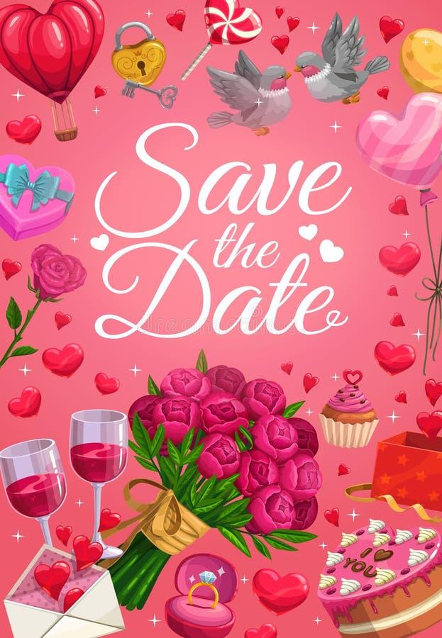 Speichern Sie die Datums-, Ehering- und Herzballone stock abbildung