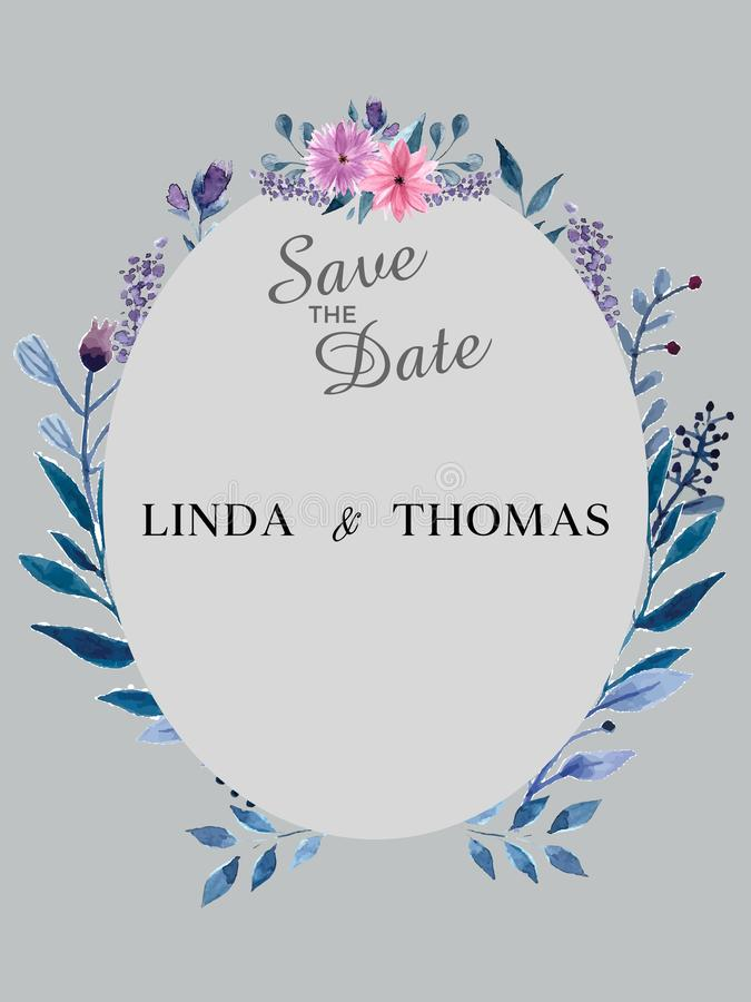 Speichern Sie die Datums-Einladungs-Karte Schablone des modernen Designs mit Elementen Moderne Tendenzfarben Einkaufsumbauten und stock abbildung