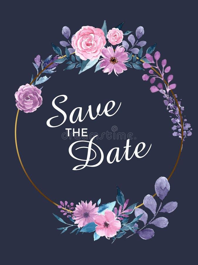 Speichern Sie die Datums-Einladungs-Karte Schablone des modernen Designs mit Elementen Moderne Tendenzfarben Einkaufsumbauten und vektor abbildung