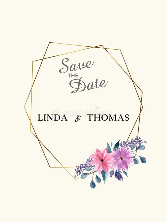 Speichern Sie die Datums-Einladungs-Karte Schablone des modernen Designs mit Elementen Moderne Tendenzfarben Einkaufsumbauten und lizenzfreie abbildung
