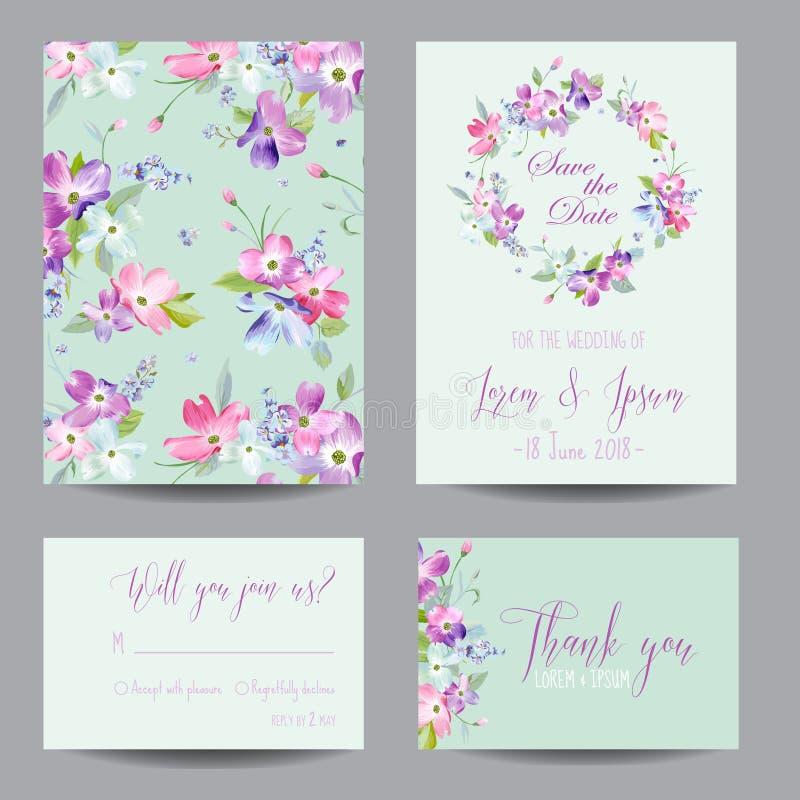 Speichern Sie die Datums-Hochzeits-Einladungs-Schablone mit Frühlings-Hartriegel-Blumen Romantischer Blumengruß-Karten-Satz für F lizenzfreie abbildung