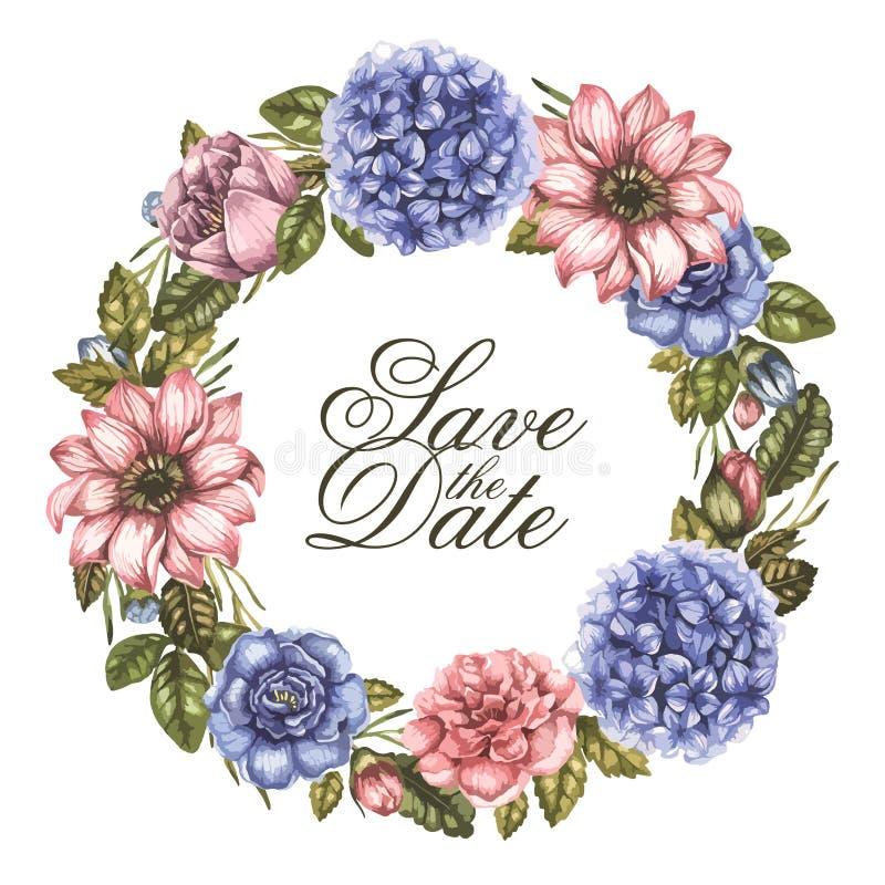 Speichern Sie die Datumsaquarell-Grußkarte mit Pfingstrosenrosenblumen Runder Blumenkranz Vektorweinleseillustration vektor abbildung