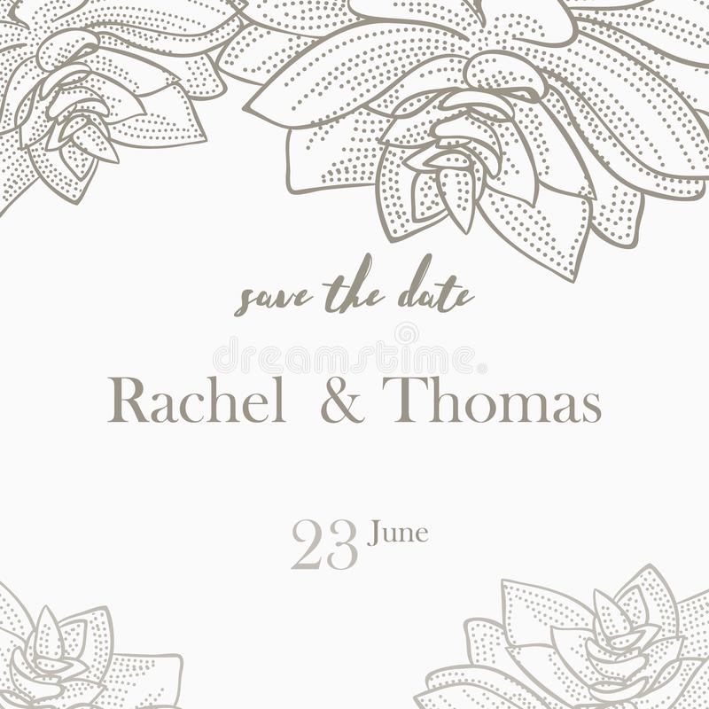 Speichern Sie die Datumshochzeitseinladungs-Kartenschablone verzieren mit Hand gezeichneter Kranzblume in der Weinleseart Auch im lizenzfreie abbildung