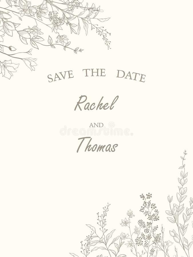 Speichern Sie die Datumshochzeitseinladungs-Kartenschablone verzieren mit Hand gezeichneter Kranzblume in der Weinleseart Auch im vektor abbildung