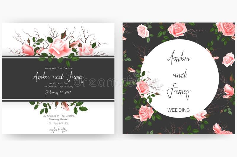 Speichern Sie die Datumskarte, die Heiratseinladung, die Grußkarte mit schönen Blumen und die Buchstaben stockbilder