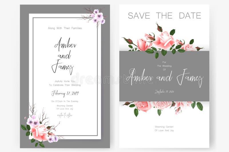 Speichern Sie die Datumskarte, die Heiratseinladung, die Grußkarte mit schönen Blumen und die Buchstaben stockbild