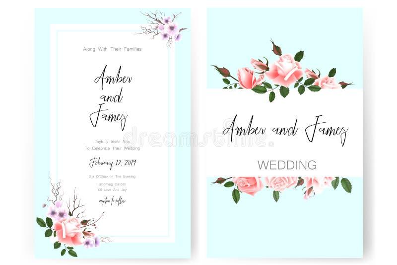 Speichern Sie die Datumskarte, die Heiratseinladung, die Grußkarte mit schönen Blumen und die Buchstaben lizenzfreie stockfotografie