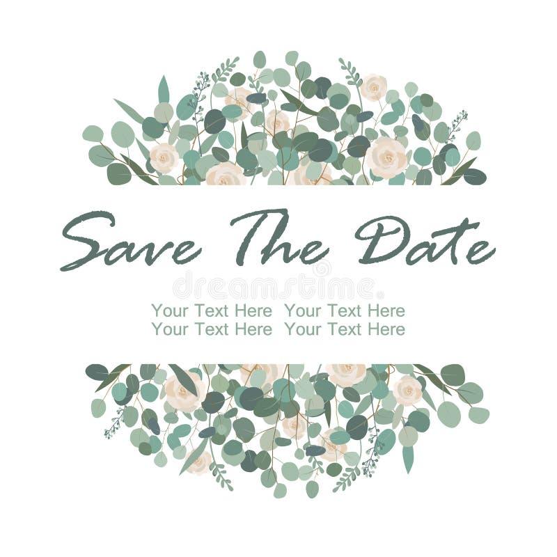 Speichern Sie Die Datumskarte Mit Weißrosenblumen Und ...