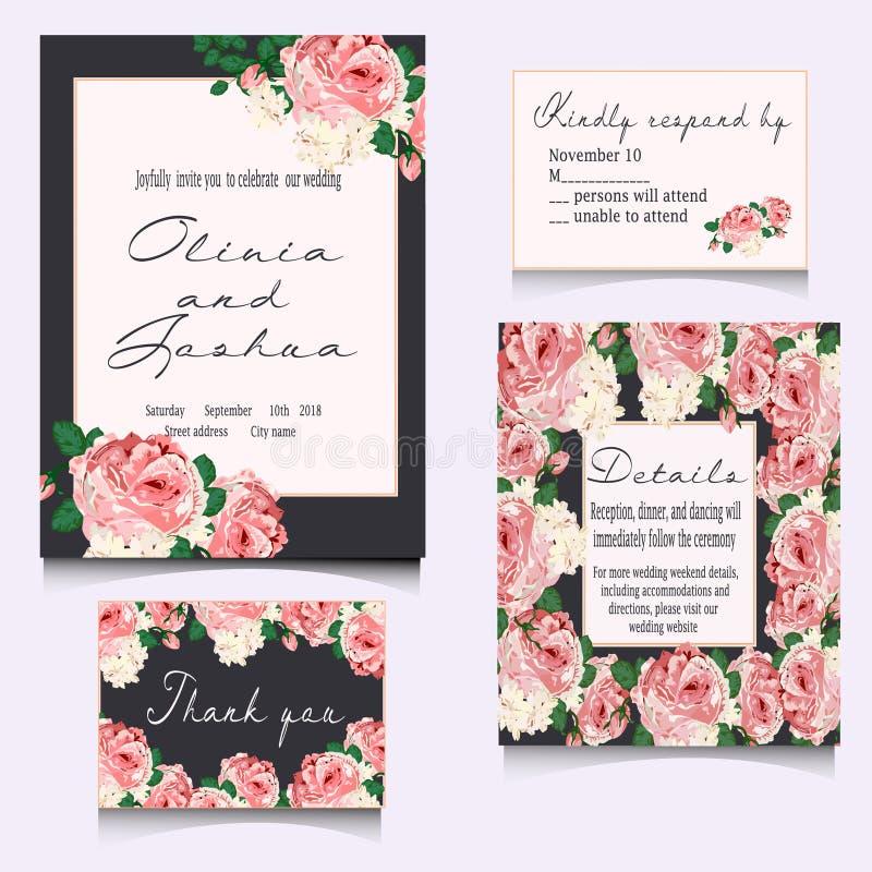 Speichern Sie die Datumskarten und Einladung heiraten vektor abbildung