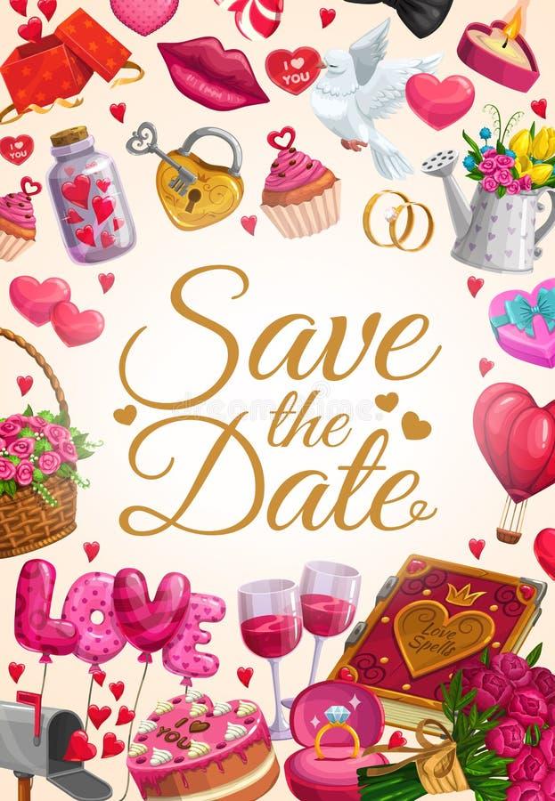 Speichern Sie die Datumsliebesherzen, -Eheringe und -geschenke lizenzfreie abbildung
