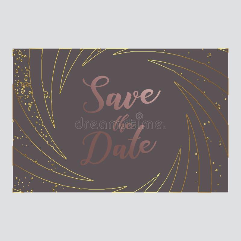 Speichern Sie die Datumspostkarte Rosen-Rosagold-Farbe-paletts Typografie und modernes Design Auch im corel abgehobenen Betrag EN lizenzfreie abbildung