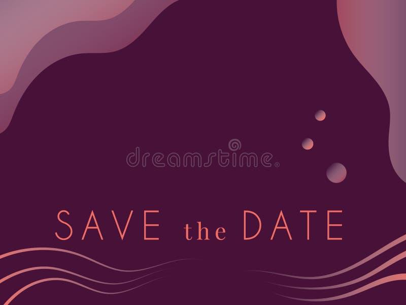Speichern Sie die Hochzeits-Einladungskarte des Datums moderne Luxusfarben und moderne Typografie Auch im corel abgehobenen Betra stock abbildung
