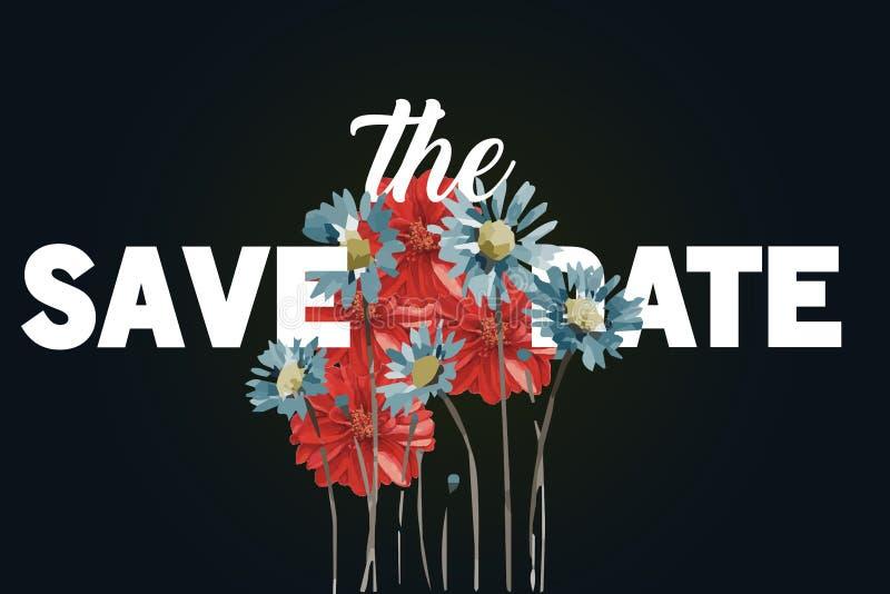 Speichern Sie die Hochzeits-Einladungskarte des Datums moderne Luxusfarben und moderne Typografie Ich bin der Autor dieser Abbild lizenzfreie abbildung