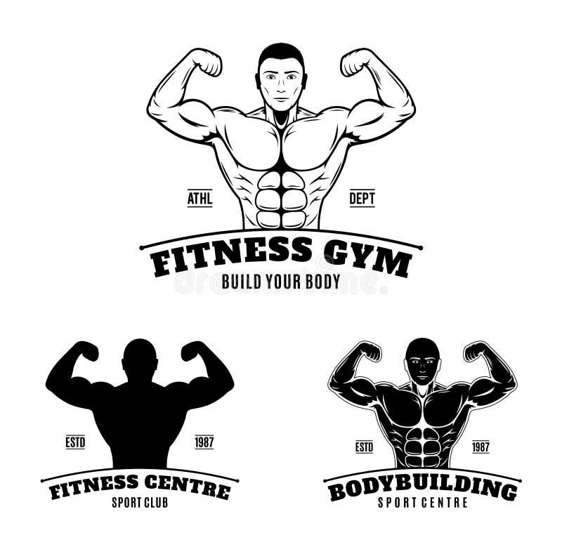 Speichern Sie Download-Vorschau-Bodybuilding-und Eignungs-Turnhallen-Aufkleber und Embleme stock abbildung