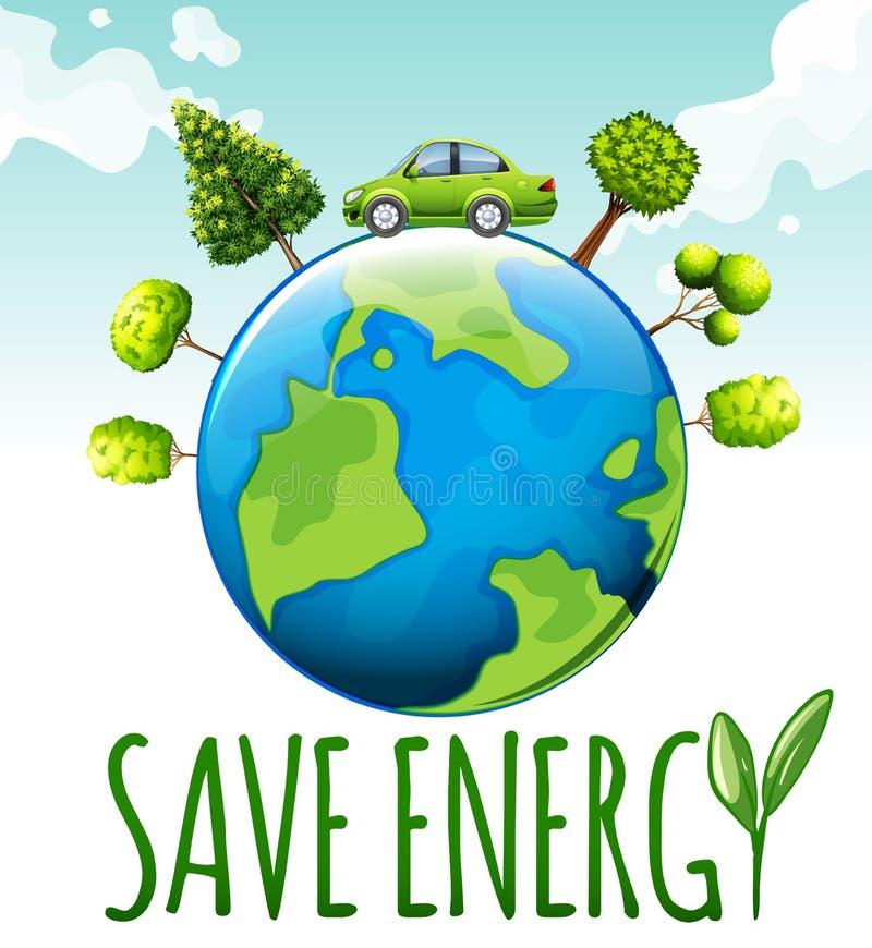 Speichern Sie Energiethema mit Auto und Bäumen stock abbildung